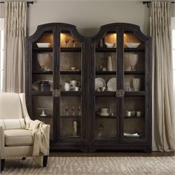 Hooker Furniture Sanctuary Glass Bunching Curio in Ebony Antiqued Oak
