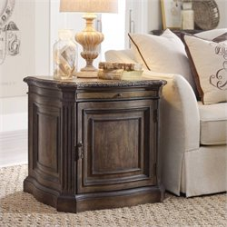 Hooker Furniture Rhapsody 1-Door Lamp Table in Rustic Walnut