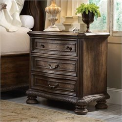 Hooker Furniture Rhapsody 3-Drawer Nightstand in Rustic Walnut