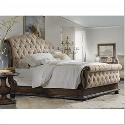 Hooker Furniture Rhapsody Tufted Sleigh Bed in Rustic Walnut - Queen