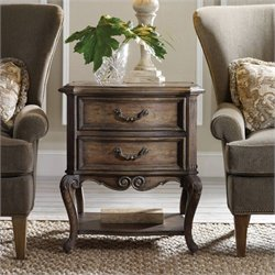 Hooker Furniture Rhapsody 2-Drawer Accent Table in Rustic Walnut