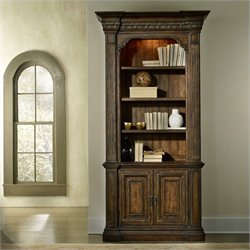 Hooker Furniture Adagio 2-Door 4-Shelf Bookcase in Rustic Pecan