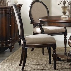 Hooker Furniture Eastridge Upholstered Oval Back Dining Chair in Dark Cherry