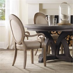 Hooker Corsica Upholstered Oval Back Dining Arm Chair in Light Wood