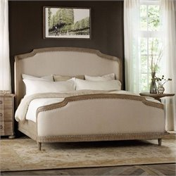 Hooker Furniture Corsica Upholstered Shelter Bed in Light Wood - Queen