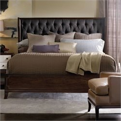 Hooker Furniture Palisade Upholstered Shelter Bed in Walnut and Carbon