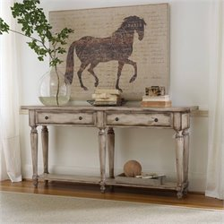 Hooker Furniture 2-Drawer Thin Console in Light Hickory