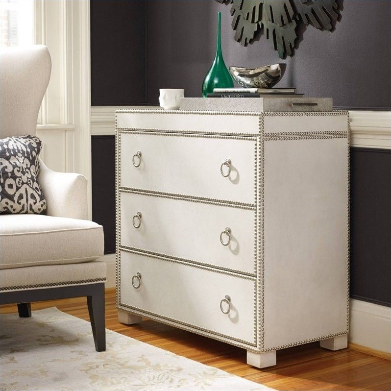 Hooker Furniture 3 Drawer Nailhead Leather Accent Chest In