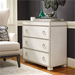 Hooker Furniture 3-Drawer Nailhead Leather Accent Chest in White