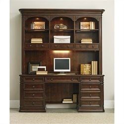 Hooker Furniture Haddon Hall Computer Credenza Set in Warm Cherry