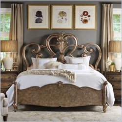 Hooker Furniture Rhapsody Fretwork Bed in Rustic Champagne - Queen
