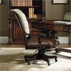Hooker Furniture Grand Palais Upholstered Tilt Swivel Chair in Dark Walnut