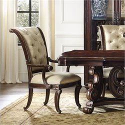 Hooker Furniture Grand Palais Upholstered Arm Dining Chair in Dark Walnut