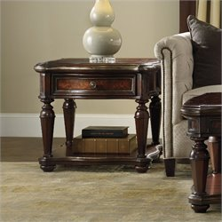 Hooker Furniture Grand Palais 1-Drawer Lamp Table in Dark Walnut