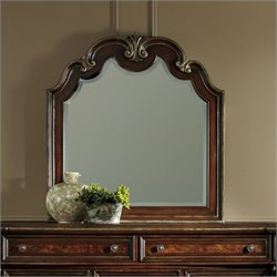 Hooker Furniture Grand Palais Shaped Top Portrait Mirror in Dark Walnut