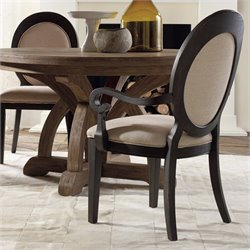 Hooker Furniture Corsica Upholstered Oval BackArm Dining Chair in Dark
