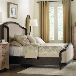 Hooker Furniture Corsica Upholstered Shelter Bed in Dark Wood - Queen