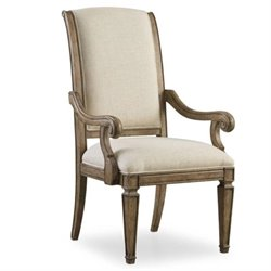 Hooker Furniture Solana Upholstered Arm Dining Chair in Light Oak