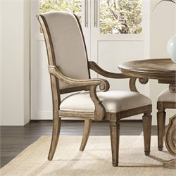 Hooker Furniture Solana Upholstered Dining Arm Chair in Light Oak