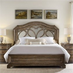 Hooker Furniture Solana Mirrored Panel Bed in Light Oak