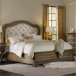 Hooker Furniture Solana Upholstered Panel Bed in Light Oak - Queen