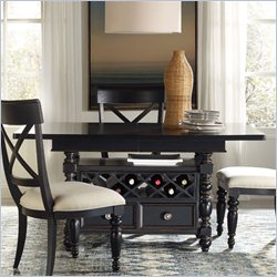 Hooker Furniture Beaufort House Adjustable Height Dining Table in Ebony with 20