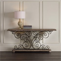 Hooker Furniture Metal Scroll Console Table in Weathered Natural Wood