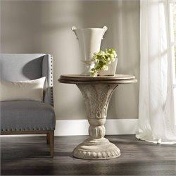 Hooker Furniture Solana Round Pedestal Accent Table in Weathered Beige