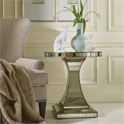 Hooker Furniture Melange Looking Glass Mirrored Pedestal Accent Table