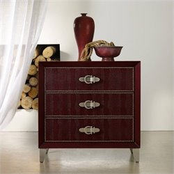 Hooker Furniture Melange 3-Drawer Pompeii Croc Leather Chest in Red