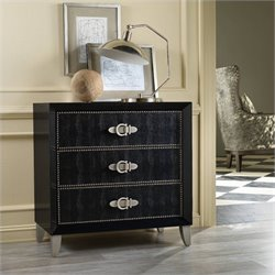 Hooker Furniture Melange 3-Drawer Pompeii Croc Leather Accent Chest in Ebony