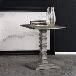 Hooker Furniture Melange Rylan Pedestal Accent Table in Weathered Gray