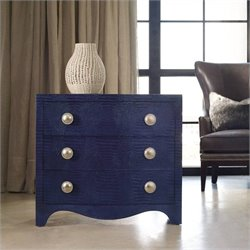 Hooker Furniture Melange 3-Drawer Nile Leather Accent Chest in Midnight Blue