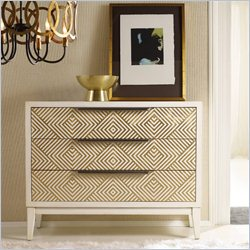 Hooker Furniture Melange 3-Drawer Effervescent Chest in White and Gold