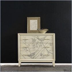 Hooker Furniture Melange 3-Drawer Bird Accent Chest in Silver and Cream