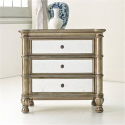 Hooker Furniture Melange 3-Drawer Montage Mirrored Bedside Chest in Champagne