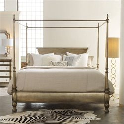 Hooker Furniture Melange Montage Canopy Poster Bed in Champagne - Queen