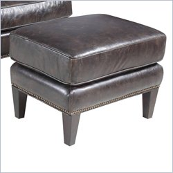 Hooker Furniture Leather Ottoman in Kairos Cocoa