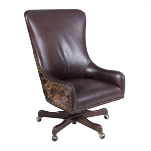 Hooker Furniture Executive Leather Swivel Tilt Office Chair in La Rabida Ranch with Brindle HOH