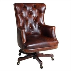 Hooker Furniture Executive Leather Swivel Tilt Office Chair in Parthenon Temple