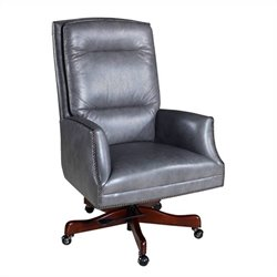 Hooker Furniture Executive Leather Swivel Tilt Chair in Empyrean Ash
