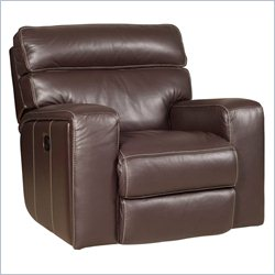 Hooker Furniture Leather Glider Recliner in Bermuda Dark Brown