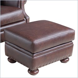 Hooker Furniture Leather Ottoman in Colosseum Fortress
