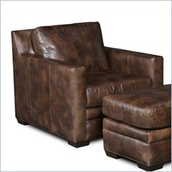 Hooker Furniture Leather Stationary Chair in Village Walnut
