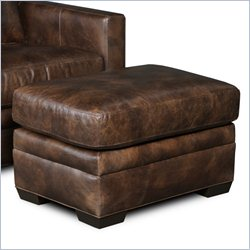 Hooker Furniture Leather Ottoman in Village Walnut