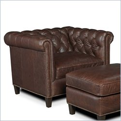 Hooker Furniture Leather Stationary Chair in Village Chocolate