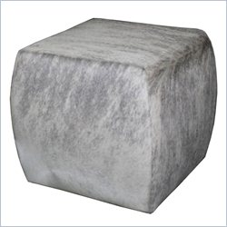 Hooker Furniture HOH Leather Cube Ottoman in Salt and Pepper