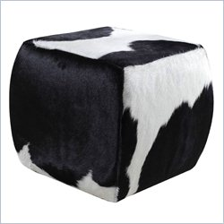 Hooker Furniture HOH Leather Cube Ottoman in Black and White