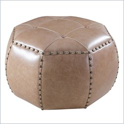 Hooker Furniture Leather Octogonal Ottoman in La Pedrera Sottobosco