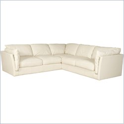 Hooker Furniture 3-Piece Leather Stationary Sectional in Axis Linen